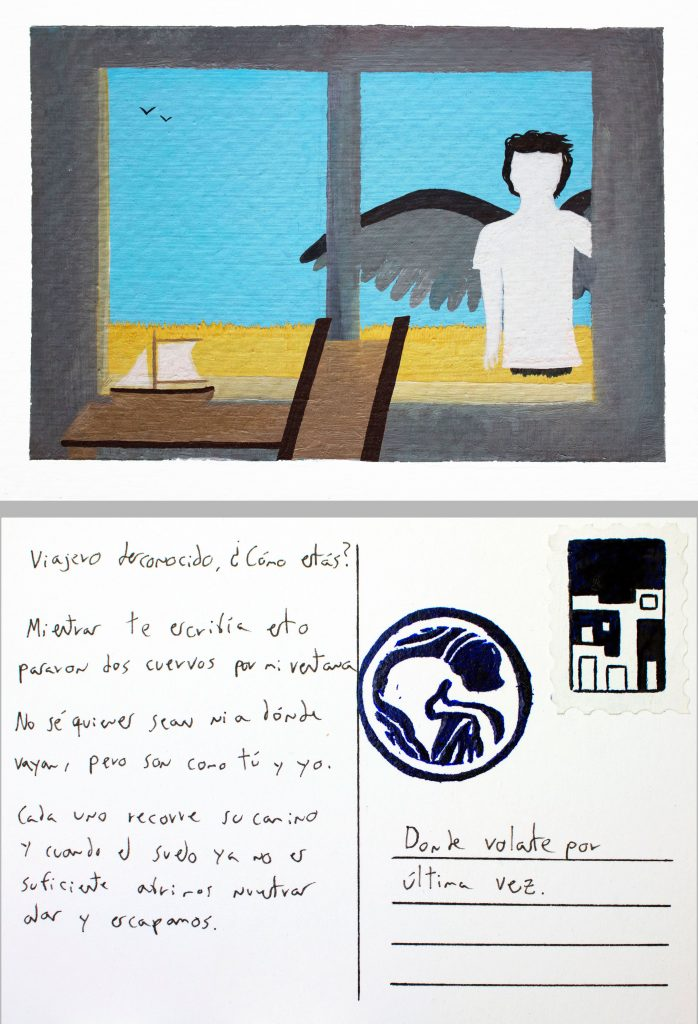 """""""Desde la ventana de mi estudio"""" (2021) de la exposición """"Postales para un viajero desconocido"""" de Sebastián Dávila."""